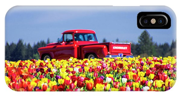 Tulips And Red Chevy Truck IPhone Case
