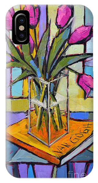 White Tulip iPhone Case - Tulips And Van Gogh - Abstract Still Life by Mona Edulesco