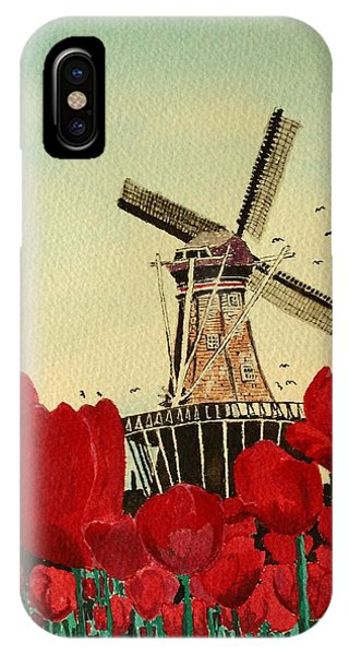 Tulips And Windmill IPhone Case