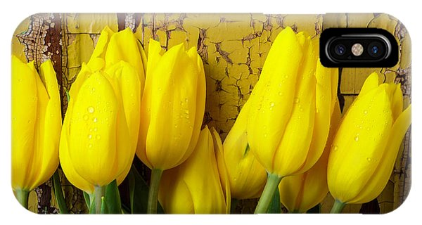 Tulips Leaning Against Yellow Wall IPhone Case