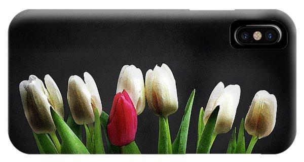 White Tulip iPhone Case - Tulips On Black by Mark Rogan