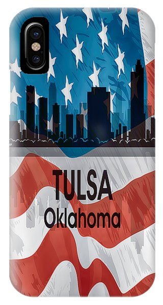 Ok iPhone Case - Tulsa Ok American Flag Vertical by Angelina Tamez
