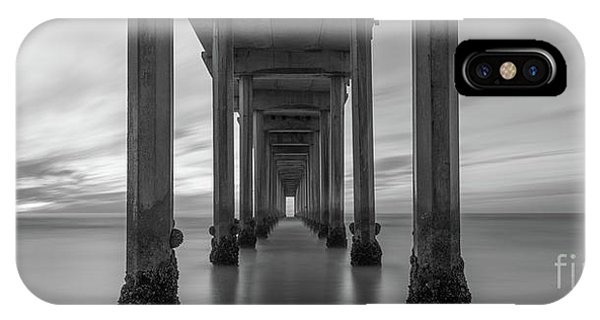 Scripps Pier iPhone Case - Tunnel Vision Bw  by Michael Ver Sprill