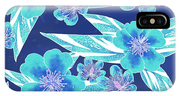 Turquoise Batik Tile 1- Camellia IPhone Case