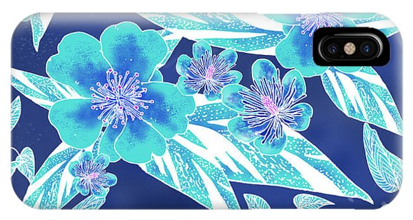 Turquoise Batik Tile 1- Camellia IPhone Case