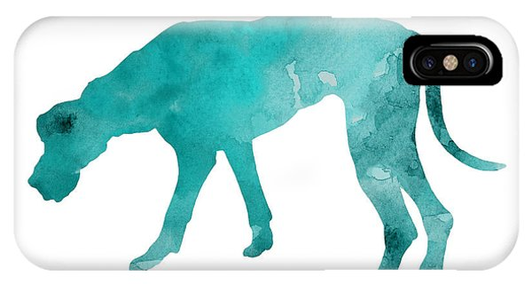 Dog iPhone X Case - Turquoise Great Dane Watercolor Art Print Paitning by Joanna Szmerdt