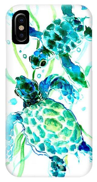 Florida iPhone Case - Turquoise Indigo Sea Turtles by Suren Nersisyan