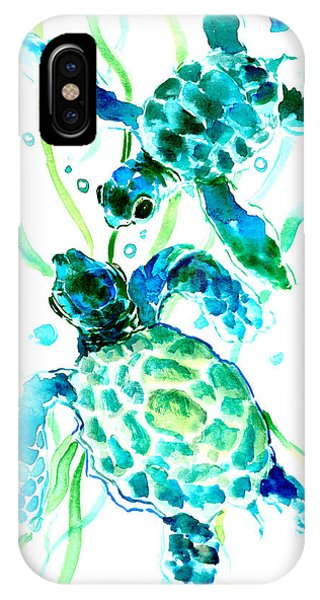 Baby Blue iPhone Case - Turquoise Indigo Sea Turtles by Suren Nersisyan