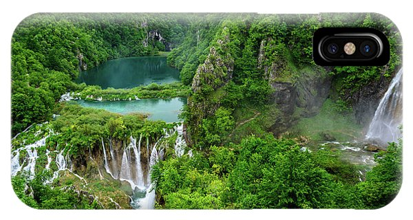 Turquoise Lakes And Waterfalls - A Dramatic View, Plitivice Lakes National Park Croatia IPhone Case