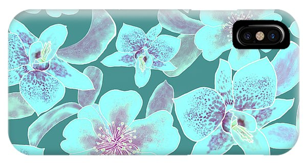 Turquoise Spotted Orchids On Teal IPhone Case
