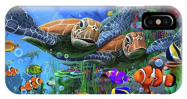 Reef iPhone Case - Turtles Of The Deep by MGL Meiklejohn Graphics Licensing