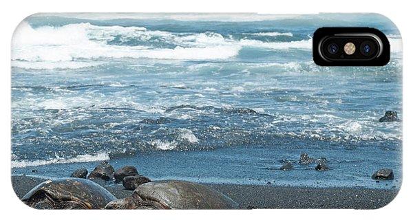 Turtles On Black Sand Beach IPhone Case