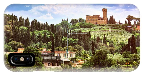 Tuscan Fields And Old Castle In Florence IPhone Case