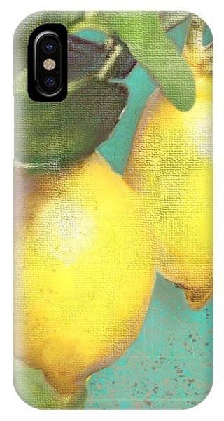 Lemon iPhone Case - Tuscan Lemon Tree - Citrus Limonum Damask by Audrey Jeanne Roberts