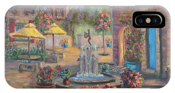 Beautiful Tuscan Villa Flower Garden Fountain Painting IPhone Case