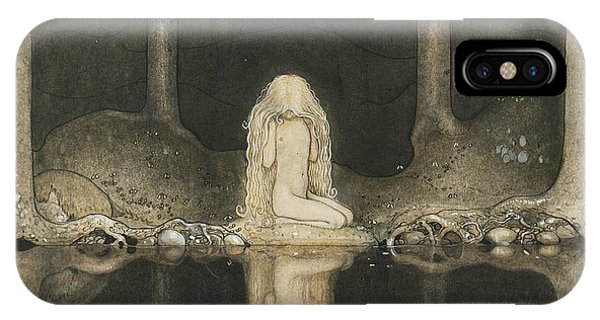 Swedish Painters iPhone Case - Tuvstarr Is Still Sitting There Wistfully Looking Into The Water by John Bauer
