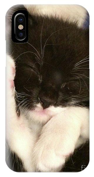 Tuxedo Kitten Snoozing IPhone Case