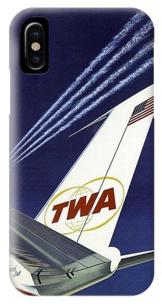 Twa Star Stream Jet - Minimalist Vintage Advertising Poster IPhone Case