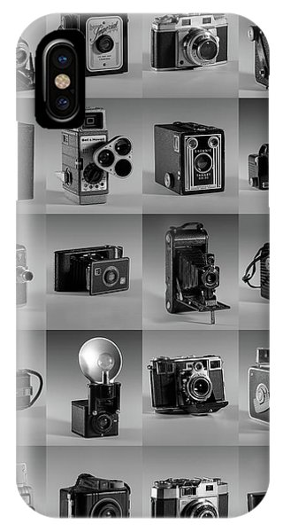 Twenty Old Cameras - Black And White IPhone Case