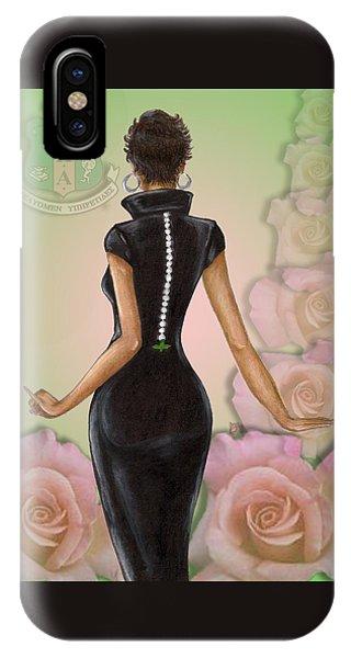 Girls In Pink iPhone Case - Twenty Pearls N Pink Roses by BFly Designs