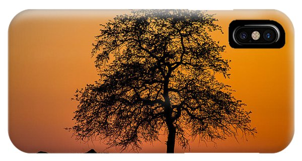Fresno Silhouette iPhone Case - Twilight Hawking by Corbett Villarrial