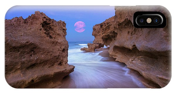 Twilight Moon Rising Over Hutchinson Island Beach Rocks IPhone Case