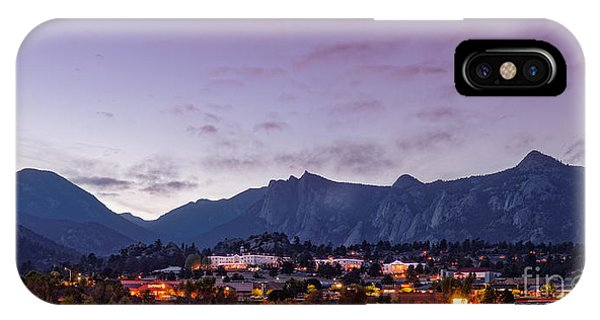 Twilight Panorama Of Estes Park, Stanley Hotel, Castle Mountain And Lumpy Ridge - Rocky Mountains  IPhone Case