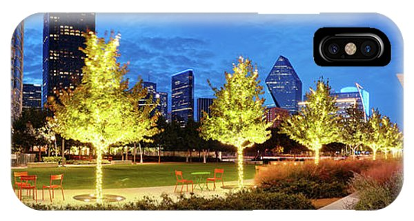 Twilight Panorama Of Klyde Warren Park And Downtown Dallas Skyline - North Texas IPhone Case