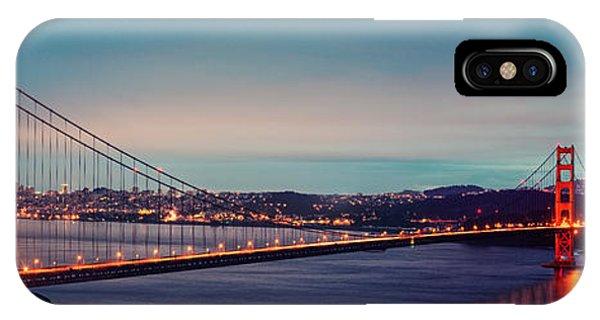Twilight Panorama Of The Golden Gate Bridge From The Marin Headlands - San Francisco California IPhone Case