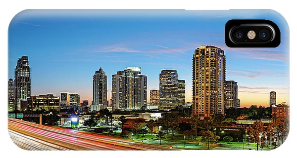 Twilight Panorama Of Uptown Houston Business District And Galleria Area Skyline Harris County Texas IPhone Case