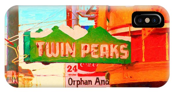 Gay Pride Flag iPhone Case - Twin Peaks Gay Bar In San Francisco . Painterly Style by Wingsdomain Art and Photography