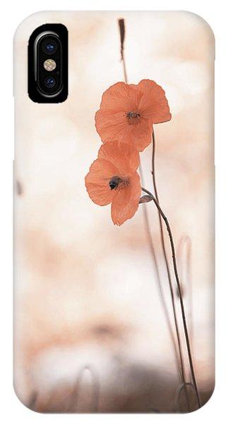 Buy Art Online iPhone Case - Twins Aliens. Orange Poppies by Jenny Rainbow