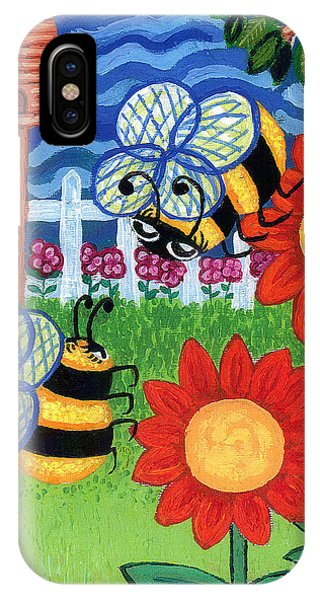 Two Bees With Red Flowers IPhone Case