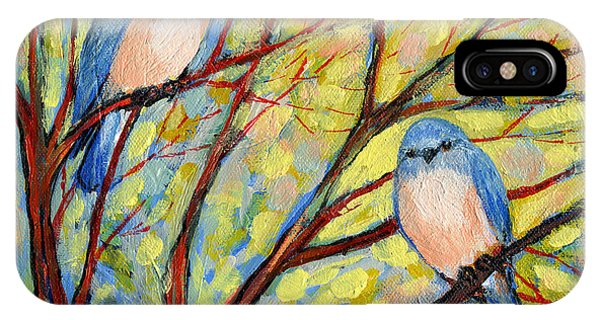 Red iPhone X Case - Two Bluebirds by Jennifer Lommers