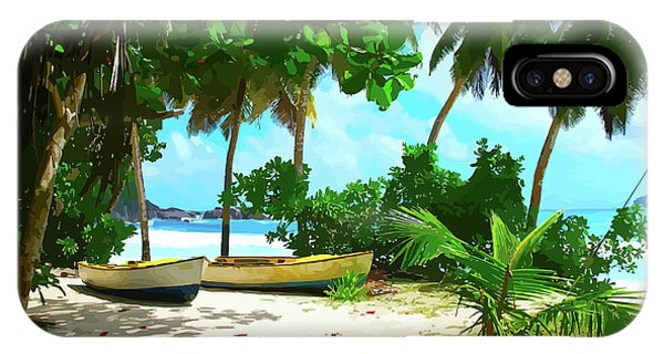 Two Boats On Tropical Beach IPhone Case