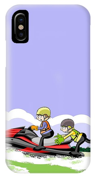 Jet Ski iPhone Case - Two Boys Jump On The Waves In A Red Jet Ski by Daniel Ghioldi