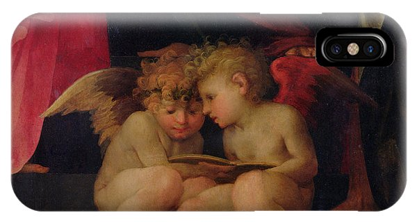 Angels iPhone Case - Two Cherubs Reading Detail From Madonna And Child With Saints by Giovanni Battist Rosso Fiorentino