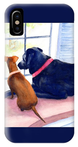 Watercolor Pet Portraits iPhone Case - Two Dogs Looking Out A Window by Carlin Blahnik CarlinArtWatercolor