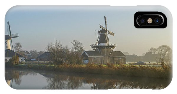 Two Dutch Windmills In The Fog IPhone Case