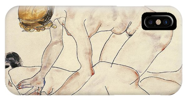 Sign iPhone Case - Two Female Nudes by Egon Schiele