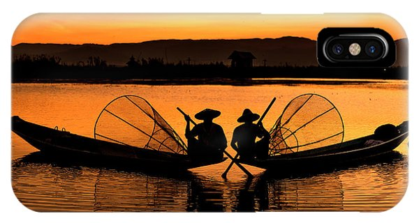 Two Fisherman At Sunset IPhone Case