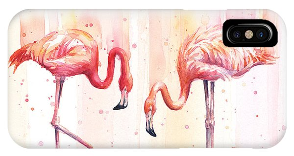 Summer iPhone X Case - Two Flamingos Watercolor by Olga Shvartsur