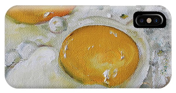Protein iPhone Case - Two Frying Eggs by Kristine Kainer