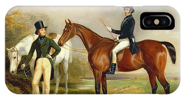 Horseman iPhone Case - Two Gentlemen Out Hunting  by Henry Barraud