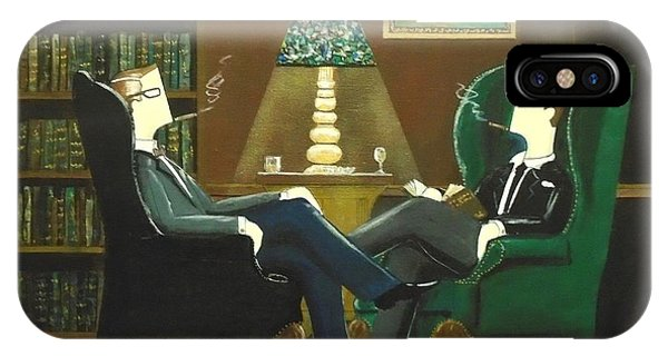 Two Gentlemen Sitting In Wingback Chairs At Private Club IPhone Case