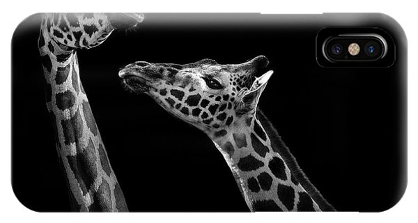 Detail iPhone Case - Two Giraffes In Black And White by Lukas Holas