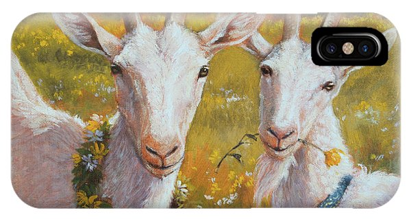 Goat iPhone Case - Two Goats Of Summer by Tracie Thompson