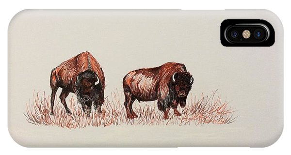 Two Grumpy Bisons  IPhone Case