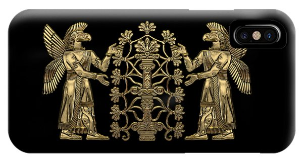 Two Instances Of Gold God Ninurta With Tree Of Life Over Black Canvas IPhone Case