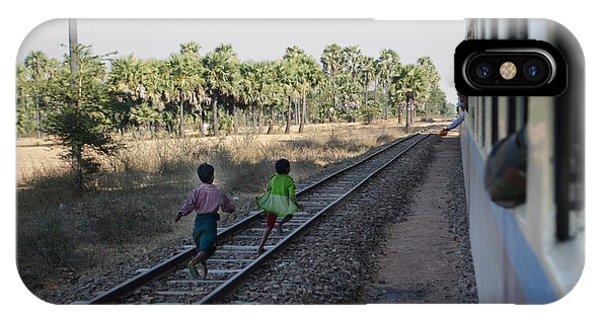 Two Kids Run Along And Follow Train In Burma IPhone Case